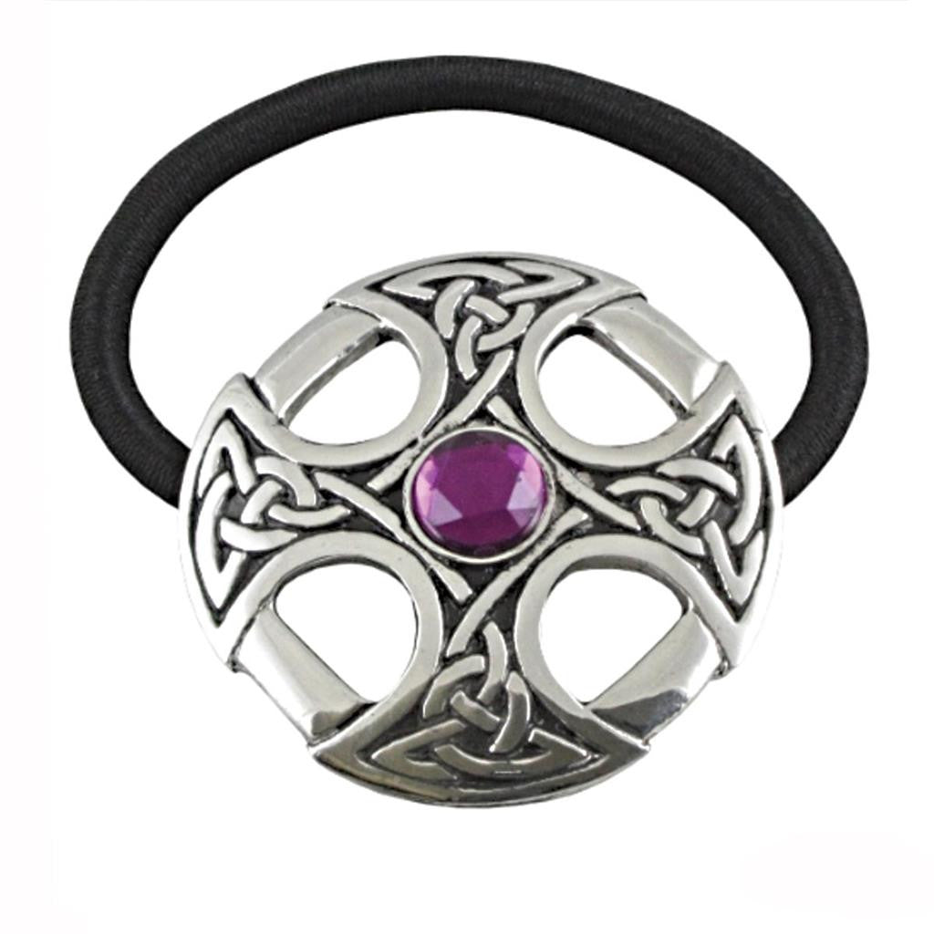 Pewter Celtic Cross Amethyst Jewel Hair Band