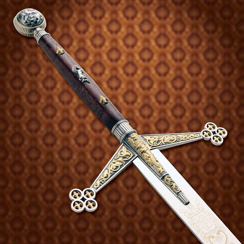 Silver and Gold Claymore - Pommel and Crossguard