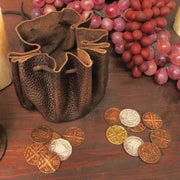 Viking Leather Pouch w/ Coins - Costumes and Collectibles