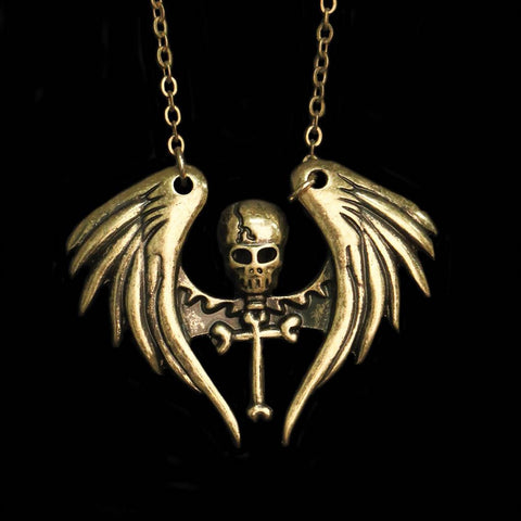 Winged Pirate Cross Necklace