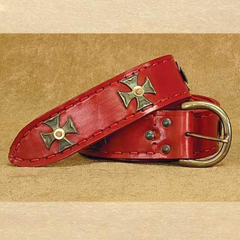 Medieval Wide Long Belt Red - Costumes and Collectibles