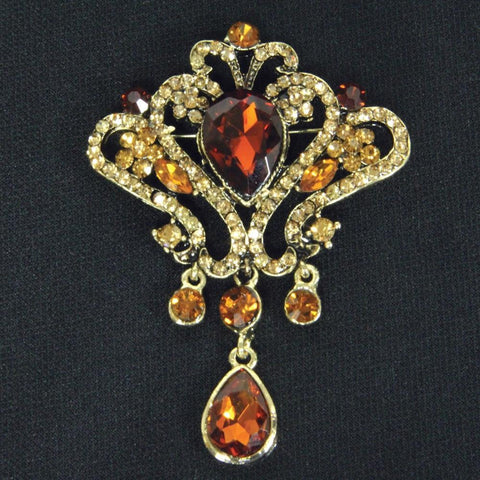 Amber Jeweled Brooch - costumesandcollectibles