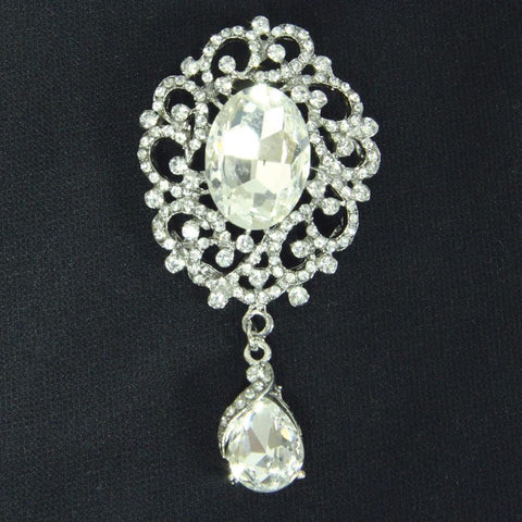 Clear Stone Brooch - Costumes and Collectibles