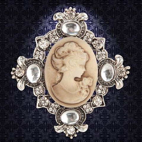 Victorian Brown Cameo Brooch - Costumes and Collectibles