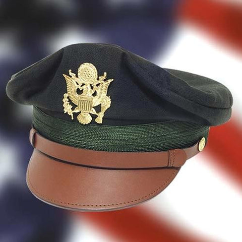 WWII U.S. Army Officerâ's Crush Cap Green