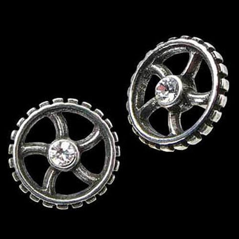 Diamond Crank Wheel Stud Earrings - costumesandcollectibles