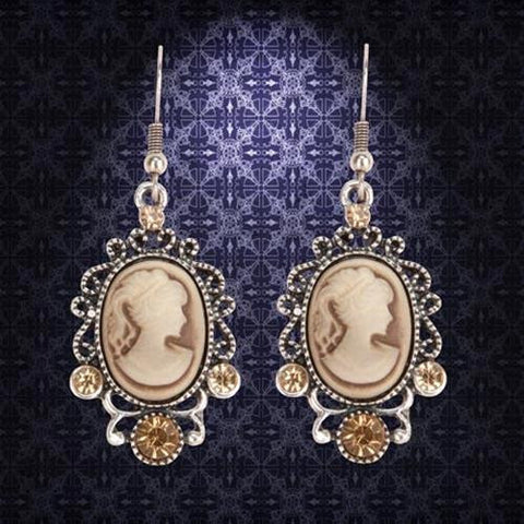Victorian Brown Cameo Earrings - Costumes and Collectibles