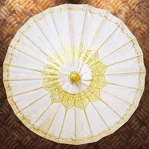 Gilded Paper Parasol - Off White