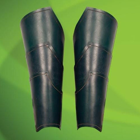 Elven Green Leather Greaves - costumesandcollectibles