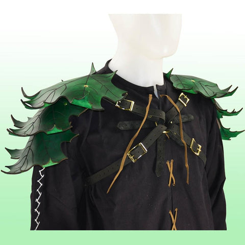 Elven Leaf Leather Pauldron Harness - costumesandcollectibles