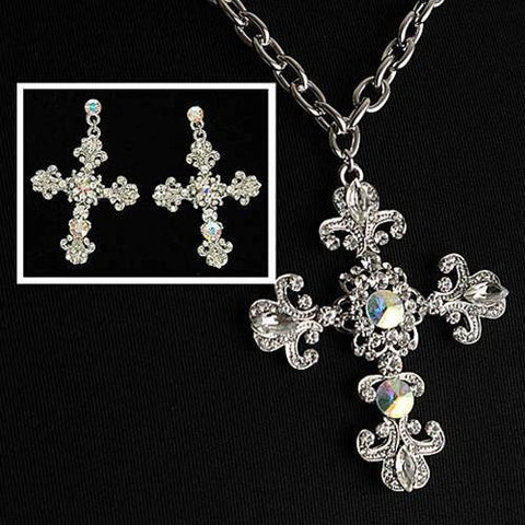 Fleur de Lis Crystal Cross Necklace and Earrings - costumesandcollectibles
