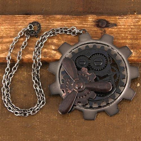 Large Gear and Propeller Steampunk Pendant