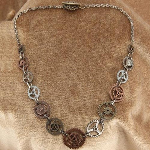 Single Chain Steampunk Gears Necklace - Costumes and Collectibles