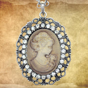 Victorian Gold Oval Cameo Necklace