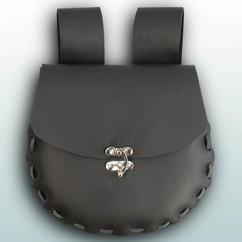 Round Medium Leather Pouch - Black