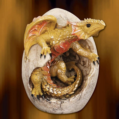 Gold Dragon Hatchling and Egg Statue