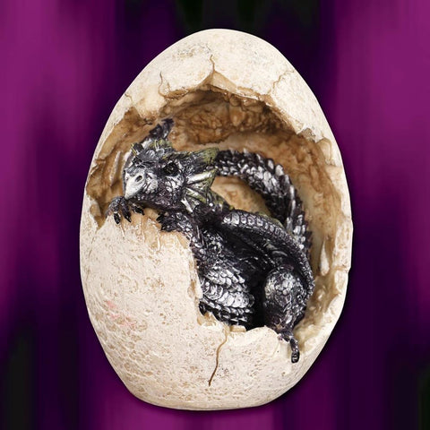 Purple Dragon Hatchling and Egg Statue
