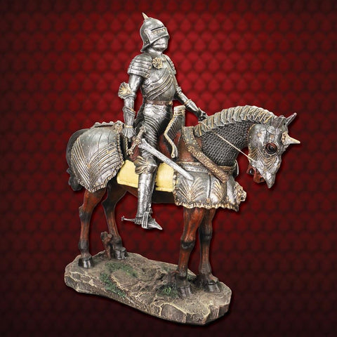 Gothic Armored Knight on Horseback Statue - costumesandcollectibles