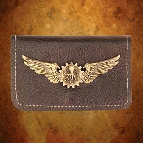 Steampunk Bi-fold Leather Wallet - Brass Wings