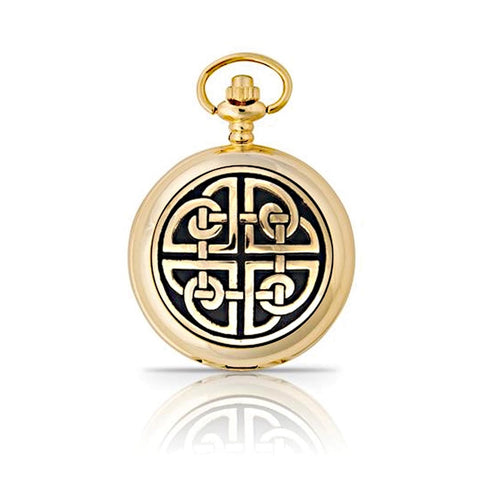Gold Celtic Square Knot Mechanical Pocket Watch