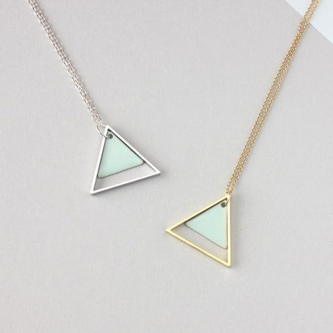 LARGE TWO MINT TRIANGLE METAL NECKLACE - Fawn and Rose
