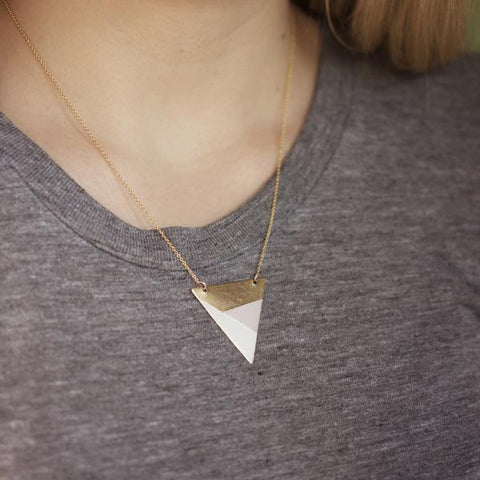 METAL TRIANGLE NECKLACE (PINK - WHITE - BRONZE) - Blog And Buy Sale Shop
