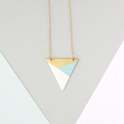 METAL TRIANGLE NECKLACE (BLUE - WHITE - BRONZE) - Blog And Buy Sale Shop