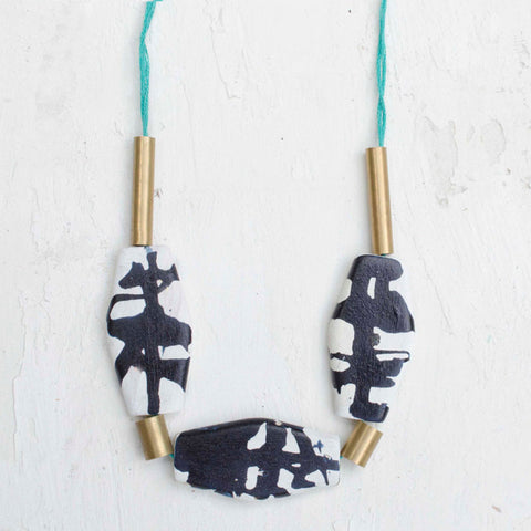 INK BLOT HANDPAINTED BEADED NECKLACE - OBLONG - Blog And Buy Sale Shop