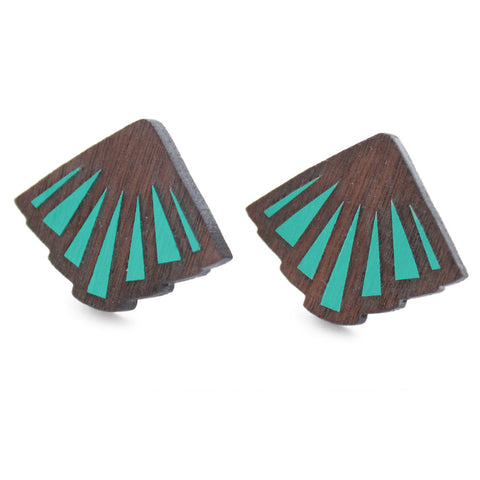 TEAL RAYON OYSTER STUDS