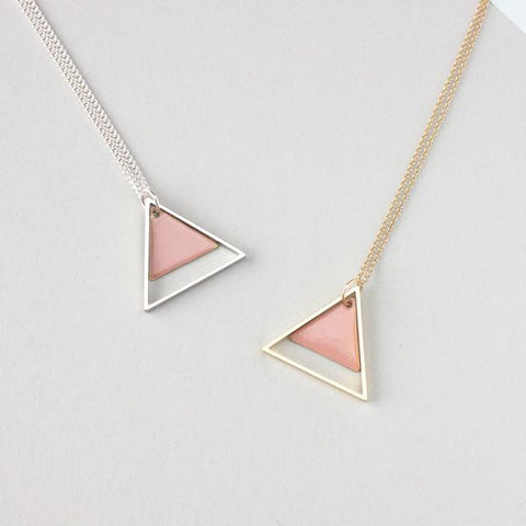 LARGE TWO TRIANGLE METAL NECKLACE - LIGHT PINK | Fawn and Rose | Blog And Buy Sale Shop
