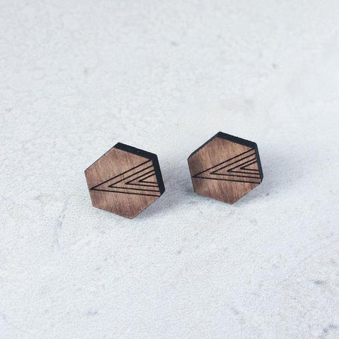 WOODEN HEXAGON EARRINGS