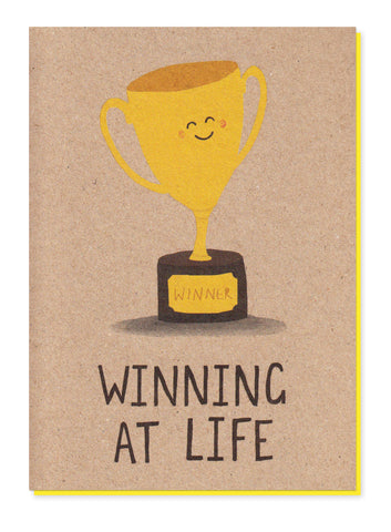 WINNING AT LIFE TROPHY GREETINGS CARD