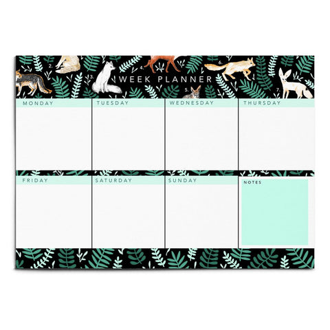 LARGE ILLUSTRATED FOXES WEEKLY PLANNER NOTEPAD | Papio Press - Blog And Buy Sale Shop