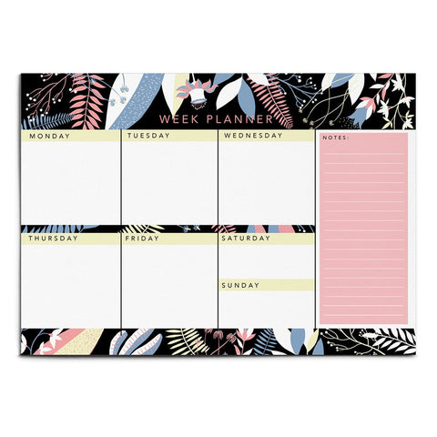 LARGE ILLUSTRATED FLORAL WEEKLY PLANNER NOTEPAD