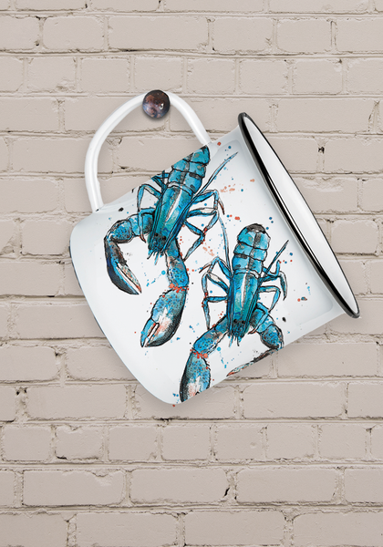 Blue Lobster Enamel Mug