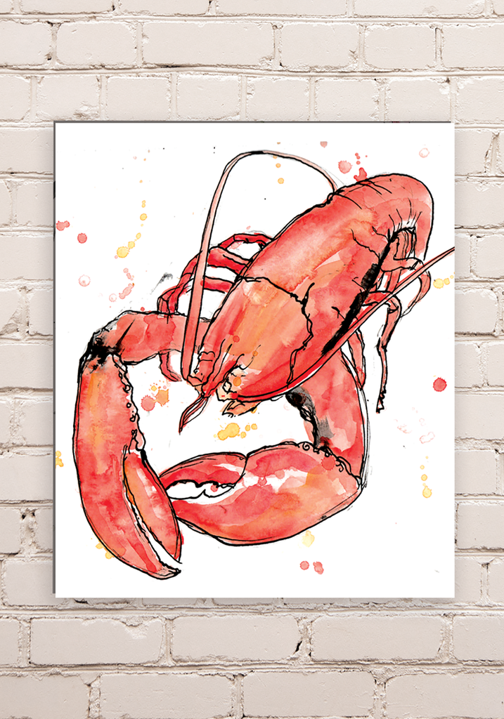Wood Mounted Lobster Print