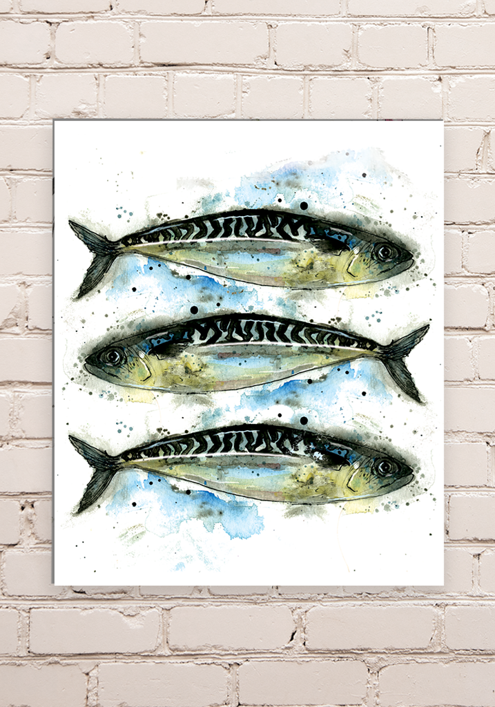 Wood Mounted Mackerel Print