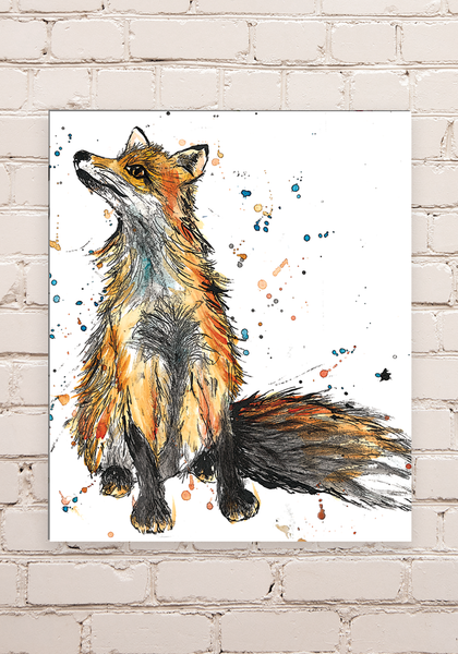 Wood Mounted Fox Print