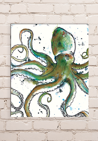 Wood Mounted Octopus Print