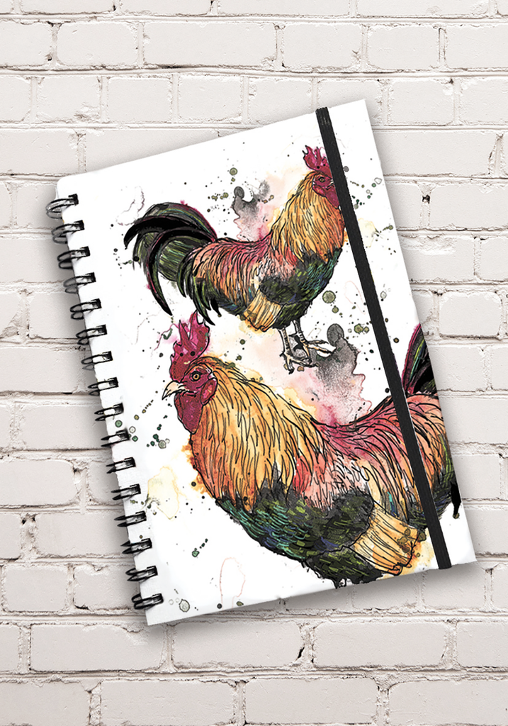 A5 Cockerel Print Hardback Spiral Bound Notebook