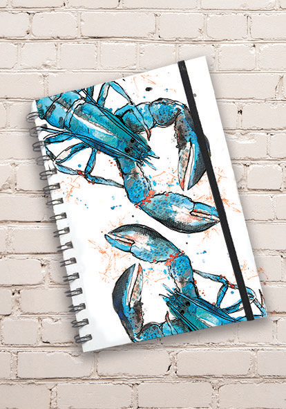 A5 Blue Lobster Print Hardback Spiral Bound Notebook