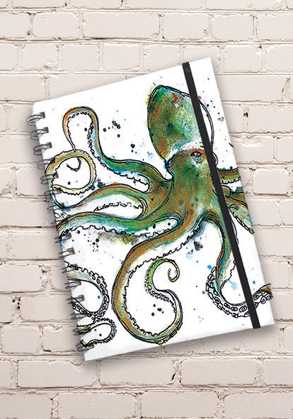 A5 Octopus Print Hardback Spiral Bound Notebook