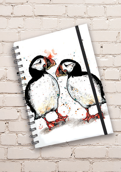 A5 Puffin Print Hardback Spiral Bound Notebook