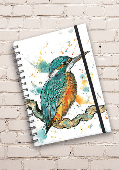 A5 Kingfisher Print Hardback Spiral Bound Notebook