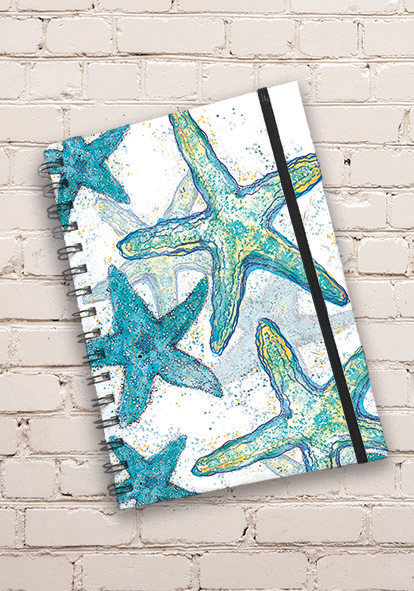 A5 Starfish Print Hardback Spiral Bound Notebook