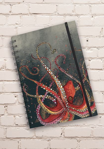 A5 Red Octopus Hardback Spiral Bound Notebook