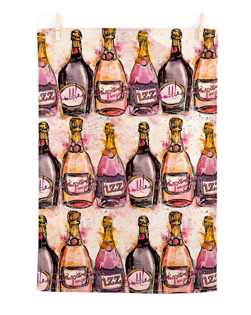 Champagne Bottle Tea Towel