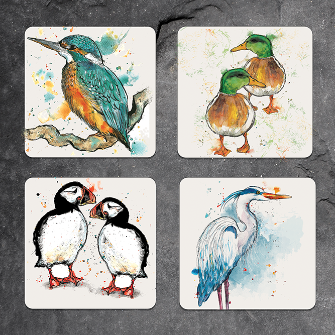 Set of 4 mixed bird coasters