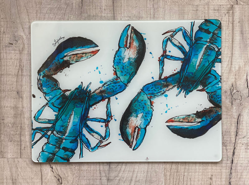 Glass Workstop Saver with Beautiful Blue Lobster Design