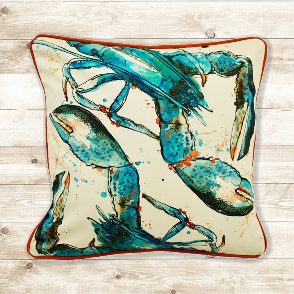 Blue Lobster Cushion Cover